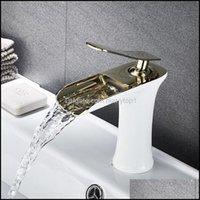 Musluk musluklar, ev bahçe havzası lavabo musluk altın beyaz krom tek kolu şelale banyo mikser güverte monte musluklar dro