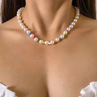 KPOP Sweet imitation perle collier pour femmes filles Candy Couleur Couleur Perles Chaîne Collier Esthétique Mode Bijoux 2021 Nouveau