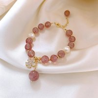 Pink Crystal Natural Stone Bracelet Ins Special-Interest Design Female Friends Sisters Bracelet Womens Simple Graceful and Fashionable Zirco