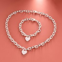 Earrings & Necklace Pure Silver Jewelry Sets For Women Heart Lock Pendant Bracelet 2 Pcs Jewellery Set Neck Chain Collares Pulseira Femme