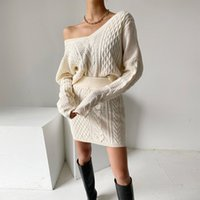 Two Piece Dress Croysier Autumn winter clothing sets of skirt knitted or crocheted with cut-f neckline and miniskirt two casual women's ensemble outfit 5LLY