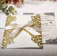 The latest 18.5X12.7CM glitter paper dusting greeting card Laser lace hollowed out invitation, 1 pack = outer shell price + single inner page + bow + envelope