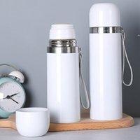 350ml 500ml DIY sublimação em branco Garrafa de água de aço inoxidável aço inoxidável flask de vácuo de vácuo caneca com lanyard nhb7388