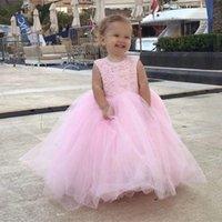 Girl's Dresses Blush Pink Flower Girl Princess Big Bow Beads Communion Birthday Pageant Robe De Demoiselle