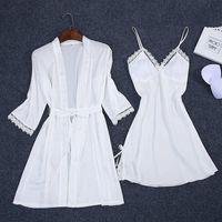 Women's Sleepwear Sexy Summer Womens 2PC Robe Bath Gown Strap Top Kimono Pajamas Sets Lady Home Wear Nightgown Suit Sleepshirts M-XXL