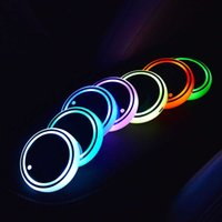 1Pc USB Charging Car LED Cup Holder Water Bottom Mat RGB Light Decor Cover Luminous Trim Lamp Ornament Coaster Accessories