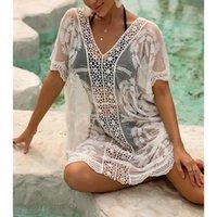 Women's Swimwear Women Hollow Out Beach Dress Sexy Short Sleeve Sheer Crochet Swimsuit Cover Up