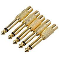 Ses Kabloları Konnektörler 5x Altın Kaplama 6.35mm 1/4 Inç Erkek Mono Fiş RCA Kadın 6.5mm Jack O Stereo Adaptörü Bağlayıcı TS Dönüştürücü Sou