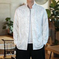 Ethnic Clothing Male Chinese Dragon Shirt Long Sleeve Traditional For Men Tang Suit Cheongsam Coat Jacket 30275