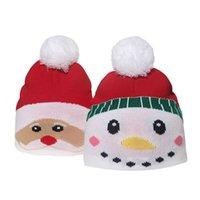Простые вязать Рождественские Шляпы Детские Детские Трикотажные POM POM Манжеры Шанса Санта-Клаус Снеговик Xmas Мультфильм Шапки Спортивные лыжные лыжи Открытый Череп Cap Headwear G90PVVI