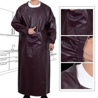 Soft Leather Overalls Waterproof Oil-proof Long-sleeved Aprons Adult Men And Women Reverse Clothing Kitchen Work Clothes