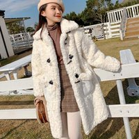 Women's Fur & Faux Pure White Wool Long Coat Horn Buckle Lamb Lapel Thick Winter Big Pocket Plush To Keep Warm Loose