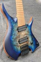 2021 Nieuwe Fanned Frets 7 Strings Hoofdloze Elektrische Gitaar Blauwe Explosiegie Kleur Geroosterde Maple Hals Ergonomische Asymmetrische Ne CK Freeshipping