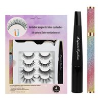 Handmade Natural 4 Pairs 3D Invisiable Magnetic False Eyelashes Set Super Soft Light Wear Comfortable Fake Lashes Glue-free With Eyeliner Strong Stickiness DHL