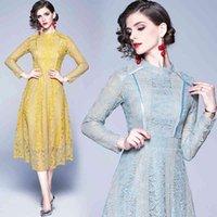 Nuevo vestido de mujer Nuevo vestido de encaje grande empalme elegante temperamento slim vestido