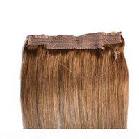 CE Belgeli Brezilyalı İnsan Saçı Hiçbir Klip Yok Halo Saç Uzantıları