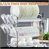 Storage Holders Racks 23 Tiers Washing Holder Basket Plated Iron Kitchen Knife Sink Dish Drainer Drying Rack Organizer Shelf Vf28I Ldri8