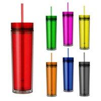 Plastik Bardak Kupalar Şeffaf PS Akrilik Ile Saman Çift Katlı Moda Ofis Şişeleri 6 Renkler
