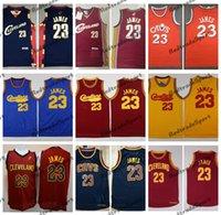Mens NCAA 2003 старинные баскетбольные трикотажные изделия Леброн 23 Джеймс новичок синий красный 2014 желтый сшитые рубашки