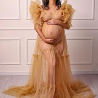 See Thru Pregnant Women's Prom Dress Maternity Robes for Photo Shoot or baby shower Tulle Pleat V Neck Plus Size Long Sleeve Photography Robe