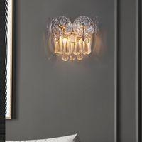 Wall Lamp Postmodern Light Luxury Living Room Hong Kong Style Water Droplet Simple Creative Villa Bedside Crystal