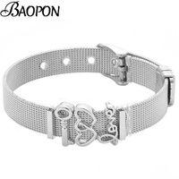 Link, Chain Fashion Silver Stainless Steel Mesh Watch Belt Bracelets For Women Love Key Charm Friendship Bracelet Bangle Jewelry Gift