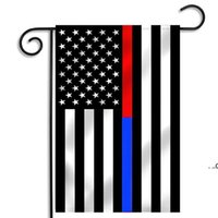 30*45cm BlueLine USA Police Flags Party Decoration Thin Blue Line USA Flag Black, White And Blue American Flag Garden Flag EWA7341