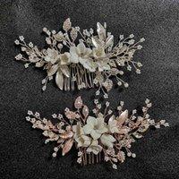 SLBLidal El Yapımı Kristal Rhinestones Inciler Çiçek Düğün Takı Tarak Gelin Başlıklar Saç Aksesuarları Nedime