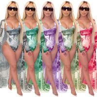 Women Casual Dollar Print Cloak + Bikini Split Swimsuit With Belt Swimsuits For 2020 Fashion