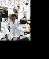 Branco Manga Longa Doce Feriado Mulheres Vestido Ruffles Biquini Cobrir Swimwear Banhando Verão Solto Blusa Camisa