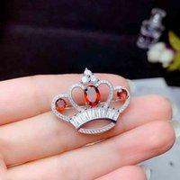 Piedra preciosa de la joyería de Colife para el partido 100% natural Garnet Real 925 Plata Fashion Crown Broche