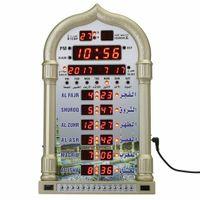 Azan Mosque Prayer Clock Islamic Mosque Calendar Muslim Prayer Wall Clock Alarm Ramadan Home Decor + Remote Control(Not battery)
