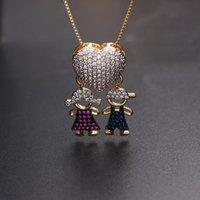 Collane pendente a forma di cuore di lusso a forma di cuore rosso ragazza blu ragazzo collana collana oro colore catena piena pavimentazione cubica zirconi famiglia moda gioielli