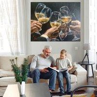 Szkło winne Dopuszenie Duży obraz olejny na płótnie Home Decor Handcrafts / HD Print Wall Art Pictures Dostosowywanie jest dopuszczalne 21071207