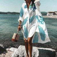 Moda floral impressão mulheres camisa vestido primavera v neck manga comprida botão senhoras vintage casual solta praia boho vestidos
