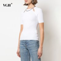 VGH Hollow Out Black T Shirt For Women O Neck Short Sleeve Patchwork Chain Casual T Shirts Female Fashion New Clothing Summer 210421