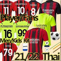 4XL 20/21 AC Milan Ventilatoren Spieler Version Fußballs Trikot Soccer Jerseys BALR 2020 2021 milan IBRAHIMOVIC TONALI Mandzukic Kessie  Männer Kinder Kits Fußball Trikots