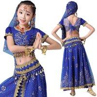 Estilo para niños Traje Bollywood Sari Disfraz Dance Dance Top Cinturón Falda Velo Cabeza Niños Performance Ropa Conjuntos Etapa Desgaste