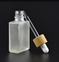 30ml Clear Frosted Glass Dropper Bottles Liquid Reagent Pipette Square Essential Oil Perfume Smoke Bamboo Cap