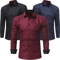 Camicie da uomo Formale Designer Italiano Designer Camicie Adattamento regolare Business formali a strisce solido Casual1