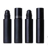 10ML Black Essential Oil Bottle Glass Roll On Perfume Crystal Roller Ball Bottles LLE8567