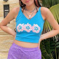 Women's Tanks & Camis Vintage Floral Print Crop Top Women Sexy V Neck Sleeveless Short Slim Tops Femme 2021 Summer Casual Chic Y2k Tank Blus