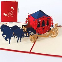 Up Paper Laser Cut Greeting Cards Creative Handmade Kirigami Wedding Lnvitations Love Carriage Postcards Wishes Gifts