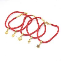 Link, Chain Hand-Woven Red Rope Bracelet Five Star Palm Jerusalemcross Drop Hang Charm Lucky Jewelry Gift For Men Women