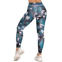 Женщины высокие талии йоги брюки с карманами Фитнес леггинсы бегущие брюки женщина жесткие спортивные брюки тренировки телефона карманный тренажерный зал