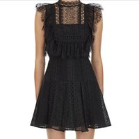 ZAWFL Self Portrait Black Lace Mini Dress Women Tassel Sleeveless Summer Stand Neck Hollow Out Floral Embroidery 210525