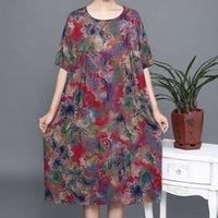 Vestidos tamanho grande e verão idosos verão meados de vestido de mãe longa Adicionar gordura 220 Jin de meia-idade de algodão saia de seda