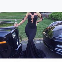 2020 New African Black and Gold Mermaid Prom Dresses Long High Neck Satin Sexy See Through Open Back Long Sleeve Prom Evening Gowns