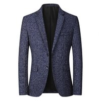 Men's Suits & Blazers Men Blazer Solid Color Single Breasted Autumn Winter Two Buttons Pockets Suit Coat For Wedding