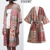 Psewe za 2021 Vintage Print Midi Kimono Kleid Frauen Sommer Mode Taschen Japanische Art Frau Kleider Wrap Lange Kleider